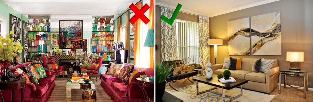 При декорировании интерьера стоит отдать предпочтение двум предметам декора