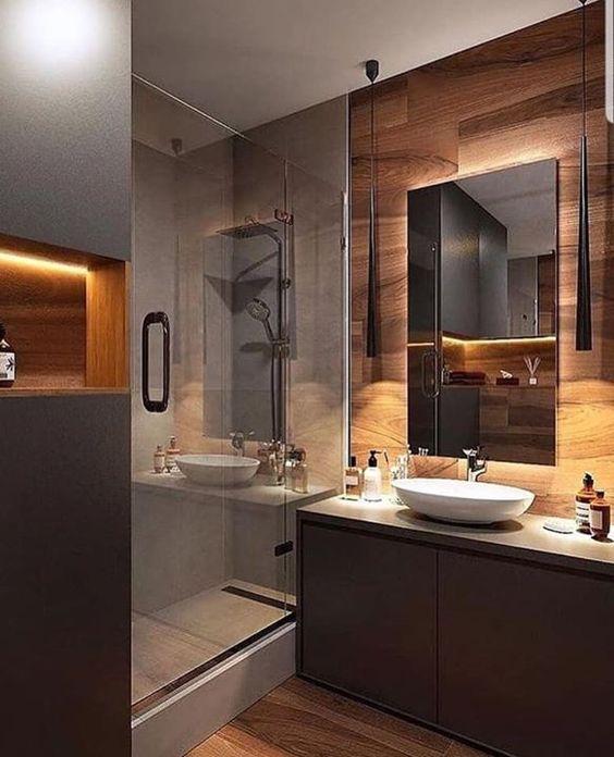 Темная ванная - это практичное решение