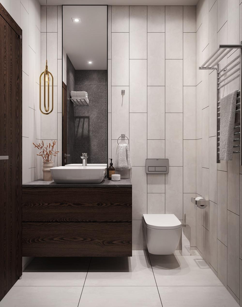 Потрясающий сдержанный дизайн ванной комнаты