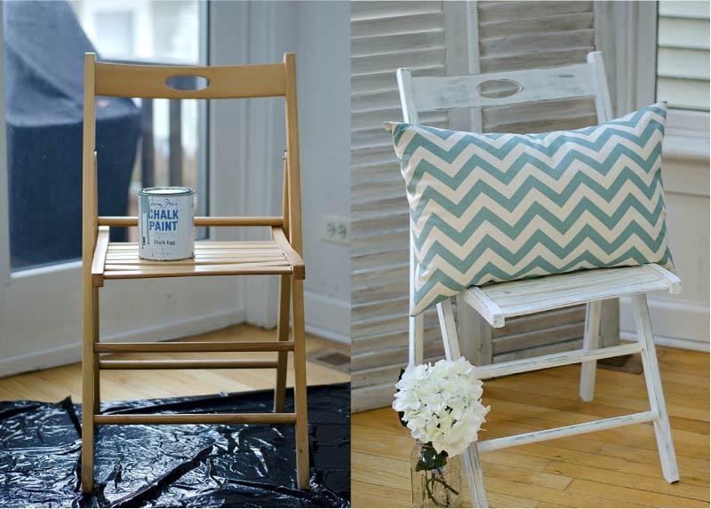 Преображение складного стула при помощи покраски
