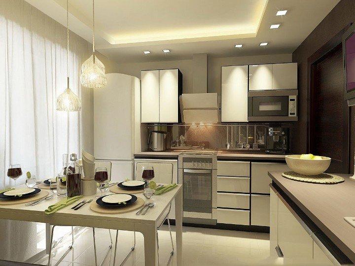Этнические светильники в интерьере кухни