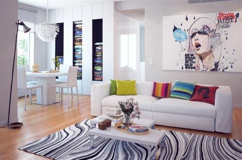 Яркие декоративные подушки в спокойном интерьере