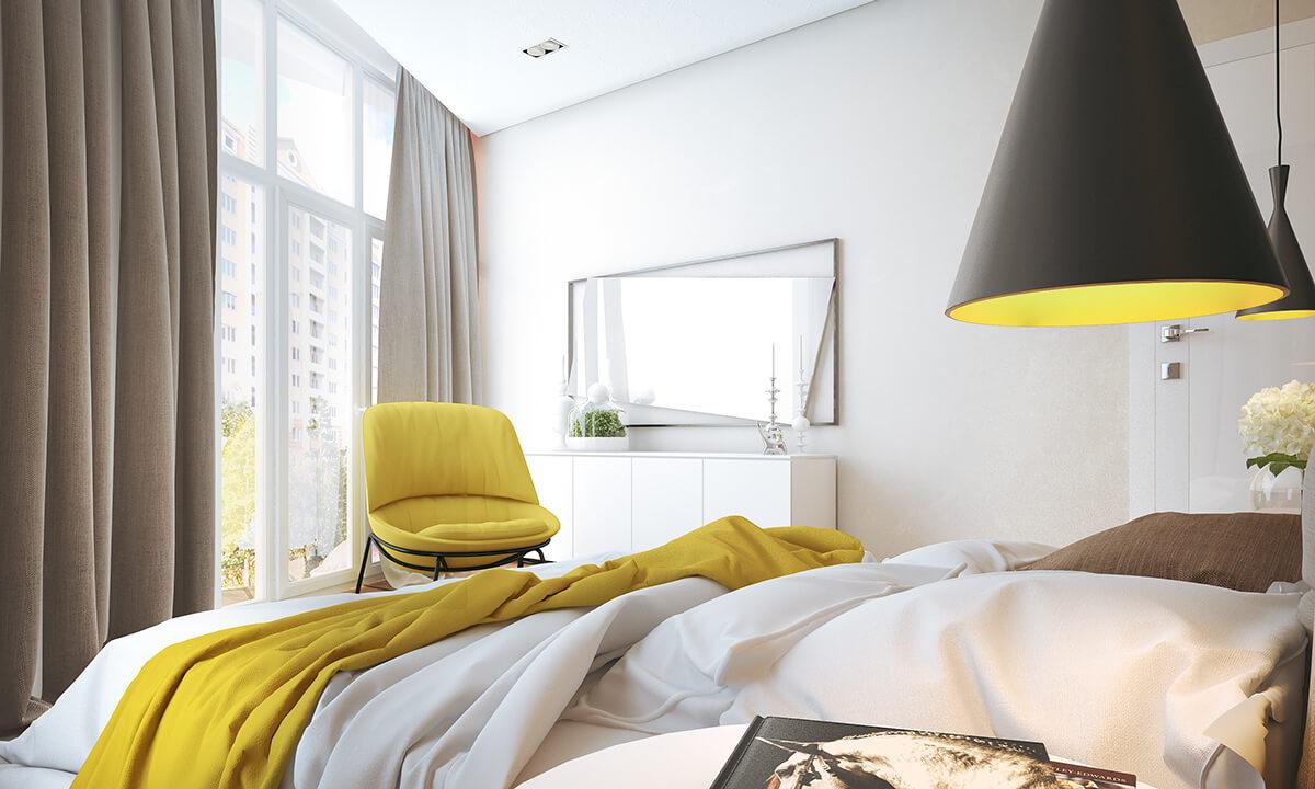 Яркое желтое кресло в спальне