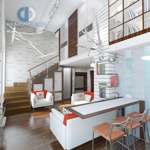 Квартира-студии со вторым этажом для семьи с детьми
