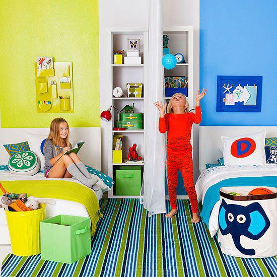 Зонирование детской при помощи цвета