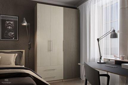 Распашной шкаф в интерьере спальни