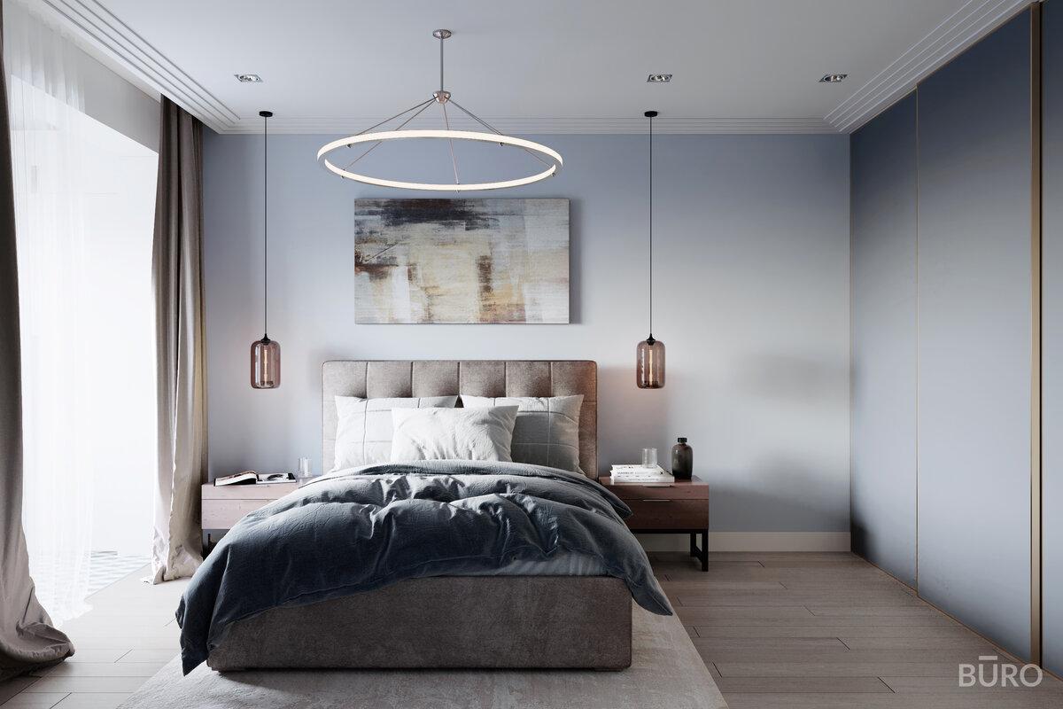 Правильный контрастный интерьер спальни