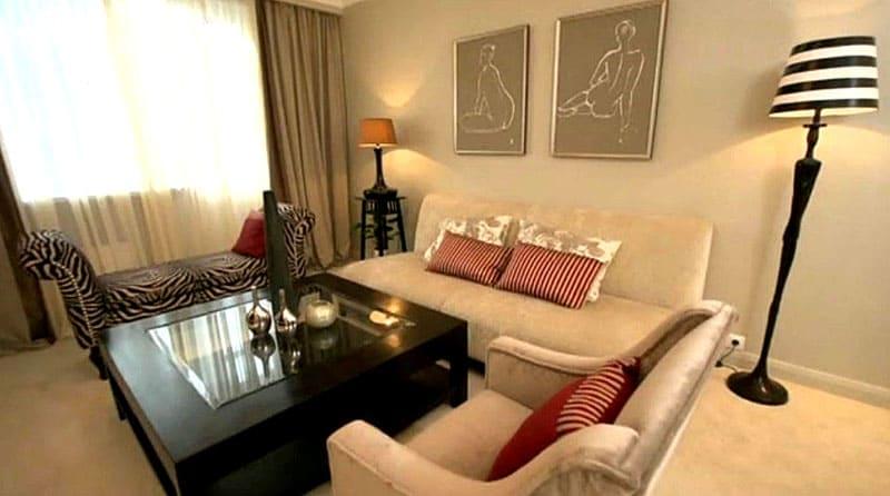 Отремонтированная гостиная комната в московской квартире телеведущей