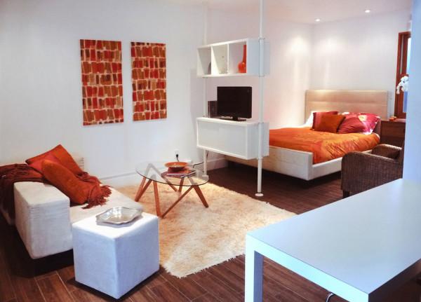 Фото гостиной-спальни в квартире многоэтажного здания