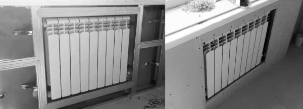 Гипсокартонный короб уменьшит до минимума теплоотдачу батареи и лишит вас доступа к ней для обслуживания и ремонта.