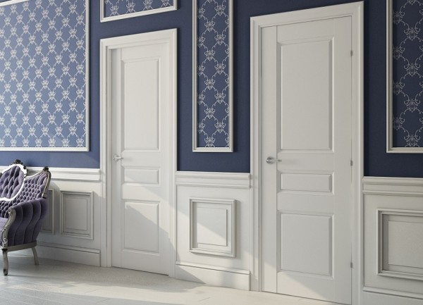 Глухие филёнчатые межкомнатные белые двери из МДФ
