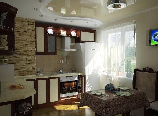 Глянцевый потолок сделает маленькую кухню зрительно более просторной