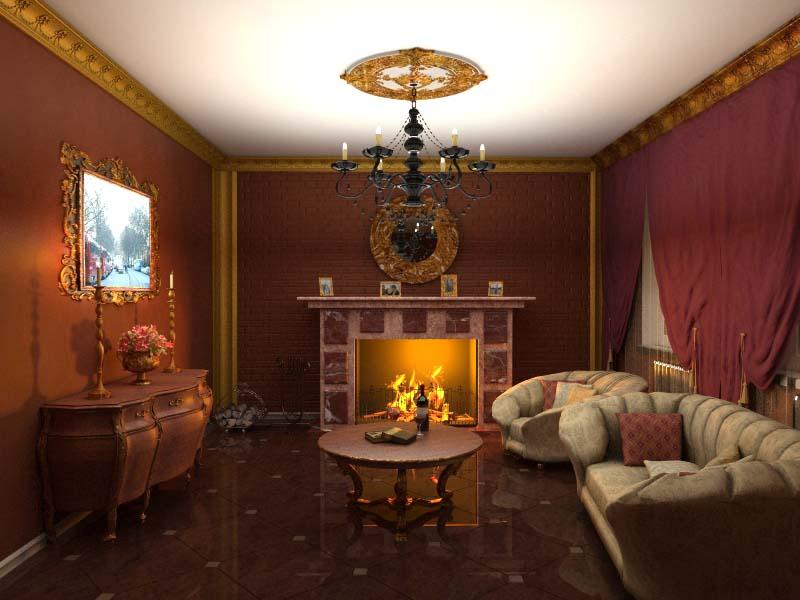 Гостиная с камином интерьер