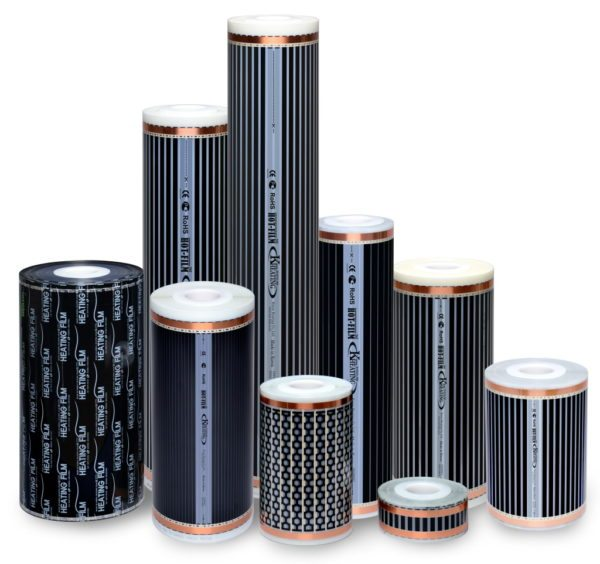 Инфракрасная греющая пленка. На фото представлена продукция разных производителей и с разной шириной полосы.