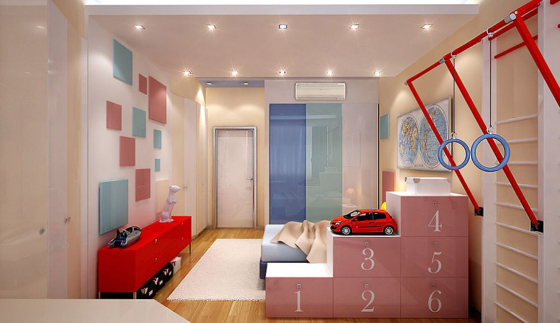 интерьер спальни с детской кроваткой
