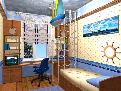 Интерьер спальни совмещенной с детской