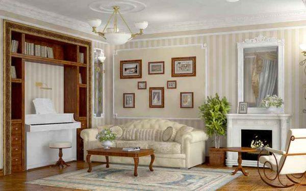 Использование вертикальных полос на стенах визуально поднимает потолок.