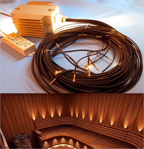 Комплект оптоволоконного освещения и образец его установки в парильне