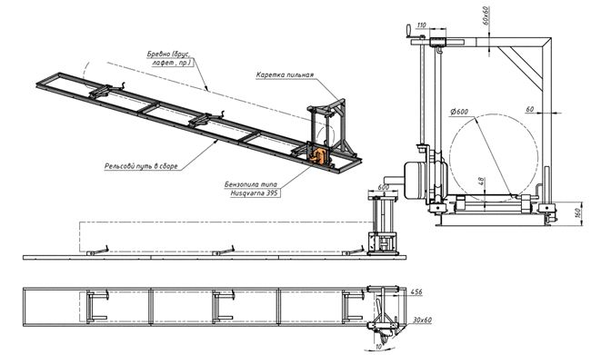 Конструкция ленточной пилорамы, в которой в качестве рабочей части используется бензопила