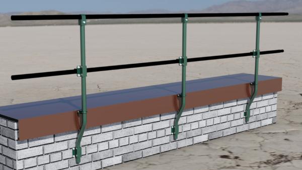 Крепление перил к плоскости стены снимает проблему гидроизоляции стоек.