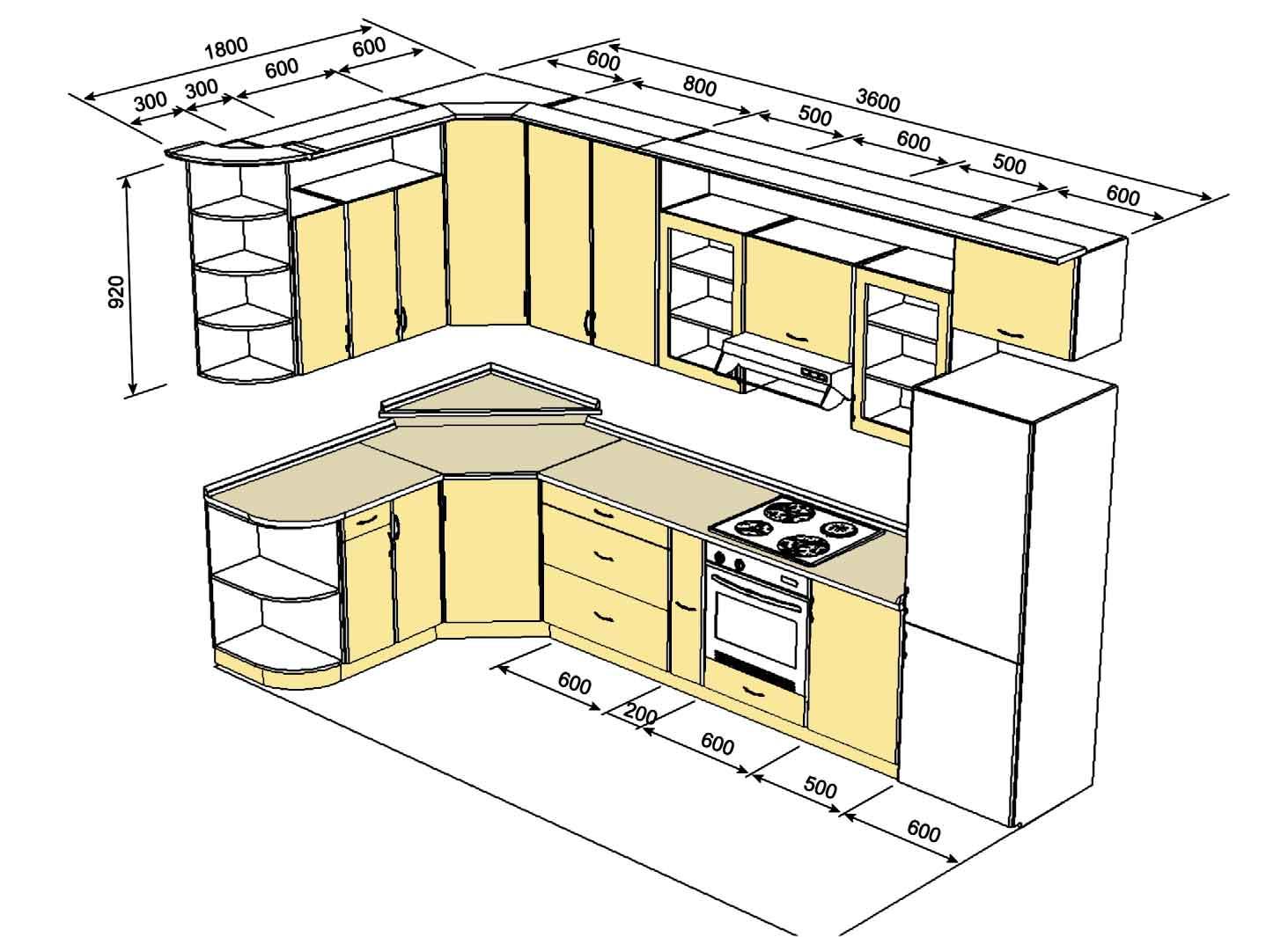 Кухонный гарнитур чертеж картинки