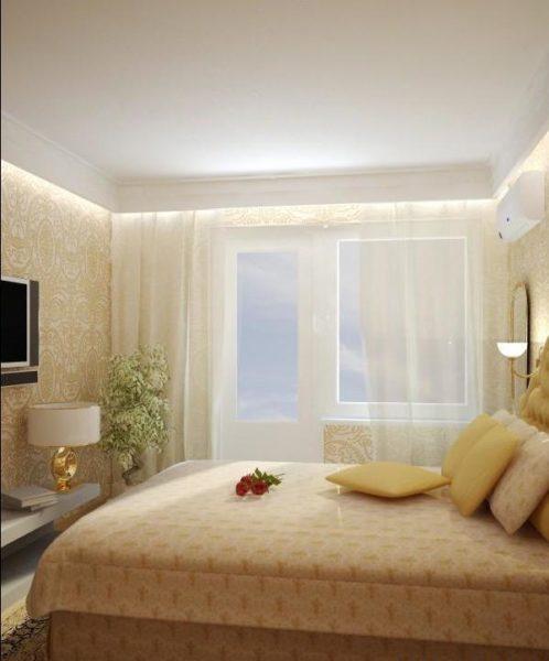 Легкость интерьера, выраженная в светлых тонах комнаты.