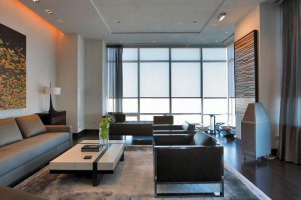 Мебель для гостиной в стиле хай-тек: лаконичные формы, металл, холодные оттенки.