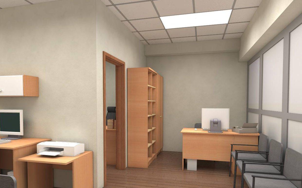Мебель с тёплыми оттенками делает комнату теплее, несмотря на наличие стен холодных цветов