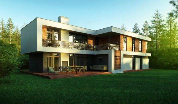 Минимализм в архитектуре: простые формы и плоская крыша.