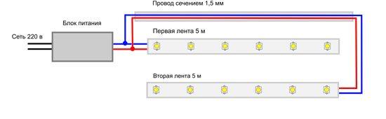 Монтажная схема монохромной светодиодной подсветки для одноцветного освещения