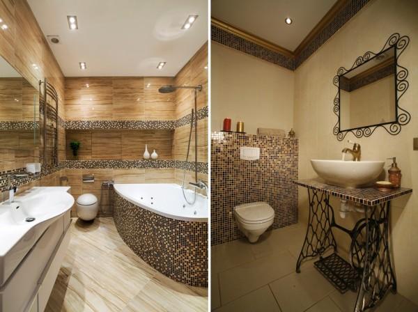 Мозаика в отделке столешницы и ванны