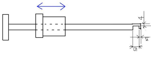 На чертеже показаны основные элементы в конструкции рихтовочного молотка — синей стрелкой обозначено движение груза