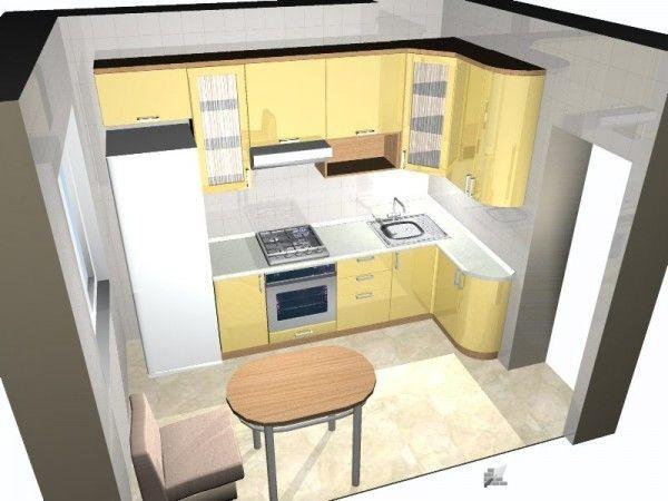 На этом проекте глубина правого крыла кухни уменьшена для экономии пространства