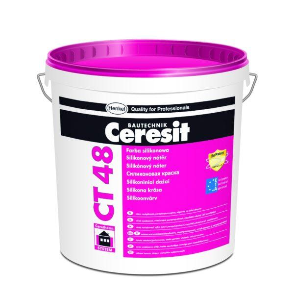 На фото Ceresit CT 48 - качественная силиконовая краска от немецкого производителя