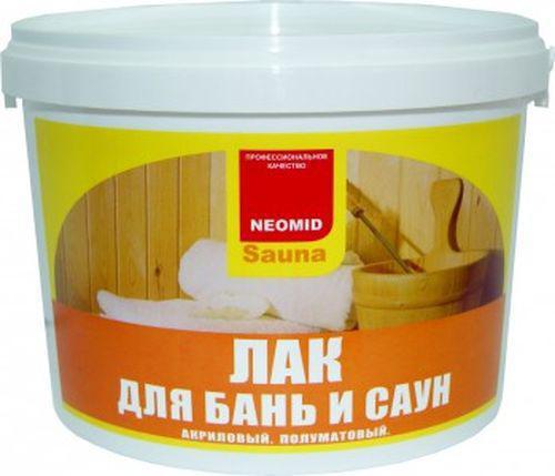 На фото лак Неомид Sauna можно использовать в помещениях с повышенной температурой и влажностью