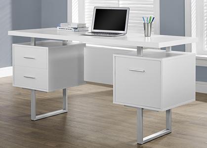 На компьютерные столы из МДФ - белый глянец используют полимерную плёнку