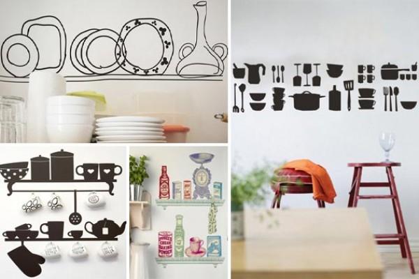 Наклейки-полки с посудой могут выглядеть очень правдоподобно, но можно и пошутить