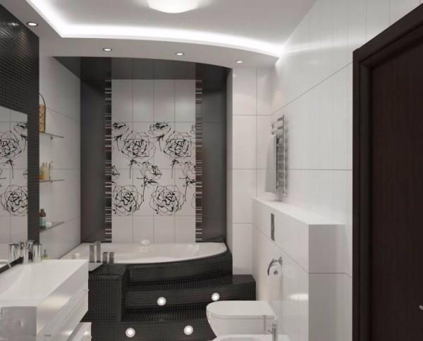 Небольшая ванная в стиле хай-тек