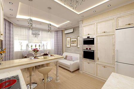 Обеденная зона четко обозначена барной стойкой и разделением на потолке, а также отличающимися от основных обоями и напольным покрытием