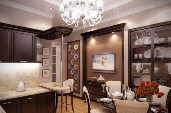Обилие фарфора и добротная деревянная мебель считаются элементами классического интерьера кухни.