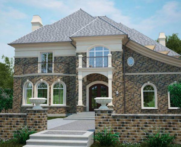 Облицованный клинкерной плиткой фасад напоминает кирпичную кладку