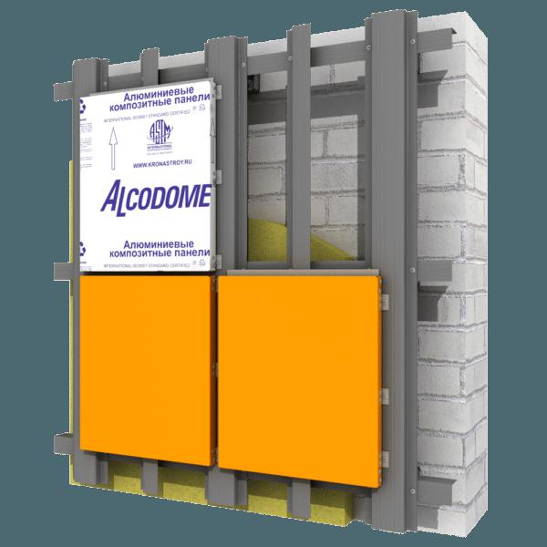 Общая схема фасадной обшивки с использованием композитных кассет