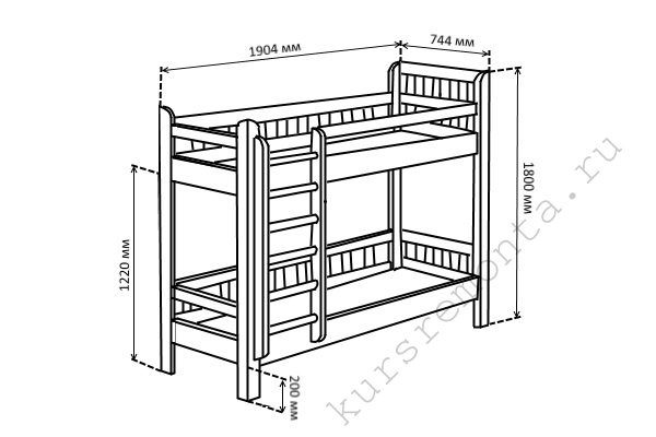 Общий чертёж детской двухъярусной должен содержать линейные размеры обоих этажей, а также указывать место расположения лестницы