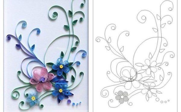 Одна их схем, которые можно использовать для украшения поздравительной открытки