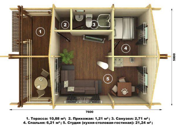 Одноэтажный домик площадью 44 квадратных метра.