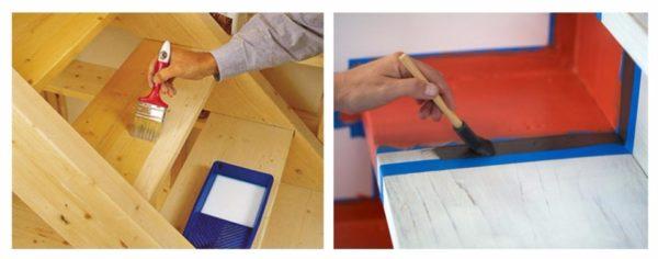 Окрашиваем или лакируем готовую лестничную конструкцию