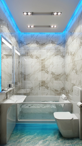 Оригинальная подсветка в ванной комнате