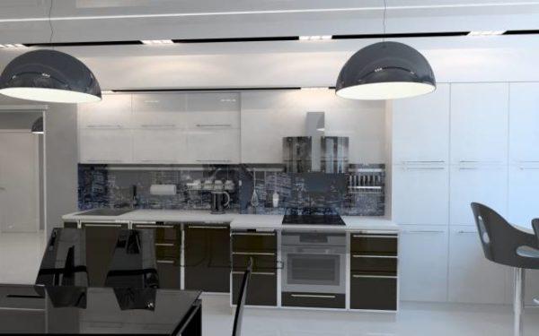 Оригинальный стеклянный фартук над рабочим столом считается характерной деталью многих современных стилей.