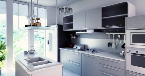 Отдельный островок для мойки как оригинальное решение на современной кухне.