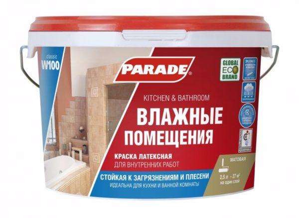 Parade W100 — качественная влагостойкая краска от отечественного производителя
